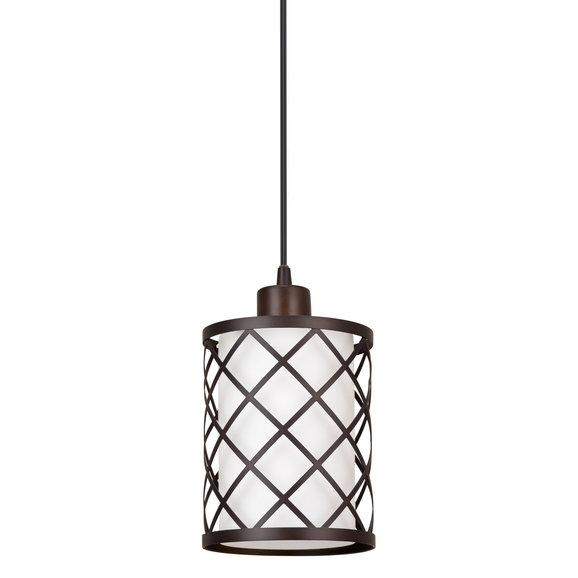 Kira Home Harper 10'' Modern Pendant Light + Outer Lattice Metal Shade + Inner Glass Shade, Adjustable Wire, Oil-Rubbed Bronze Finish