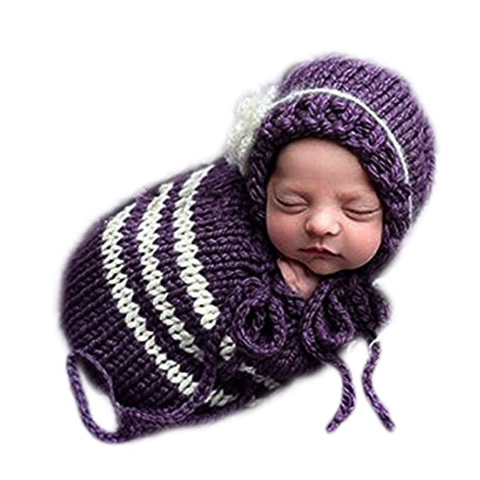 ccd29b0c3 Amazon.com: Handmade Infant Newborn Baby Girl Boy Crochet Knit Sleeping Bag  Hat Photography Props Outfits Costume: Clothing