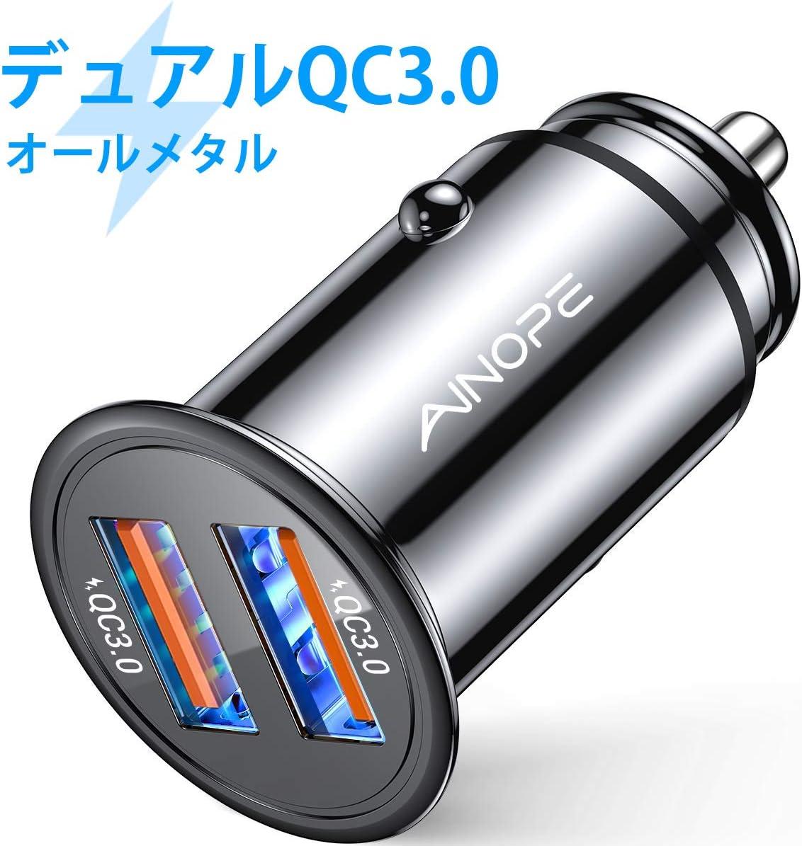 AINOPE シガーソケットusb, [デュアルQC3.0ポート] 36W/6A 超小型 [すべての金属] 高速車の充電器 車usb シガーソケット usb 急速充電 に iPhone 11 Pro Max/XR/X, iPad Air 2/Mini, Note 10 9/Galaxy S10/S9/S8, IQOS/glo 対応 ? ブラック