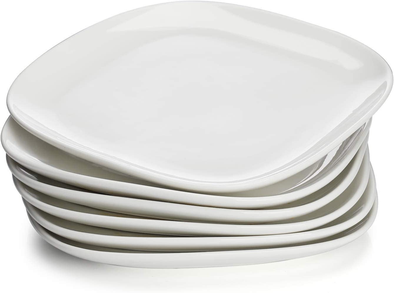Sweese 152.001 Porcelain Square Dinner Plates - 10 Inch - Set of 6, White