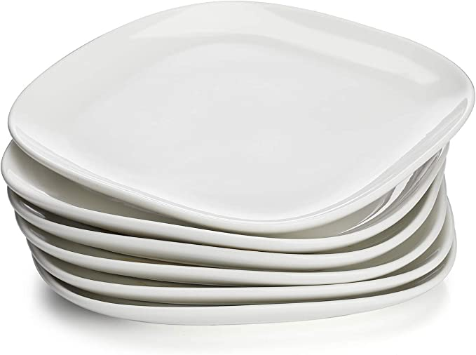 Set of 6 7.8 Inch White Sweese 159.001 Porcelain Triangular Dessert Salad Plates