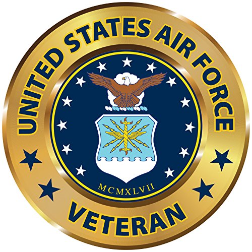 Military 6 inch Round Magnetic Auto Emblem (U.S. AIR Force Veteran) ()