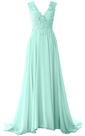 MACloth Elegant V Neck Long Prom Dress Vintage Lace Chiffon Formal Evening Gown (US2,