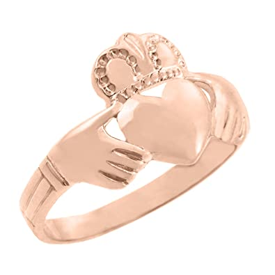 Amazon.com: Sólido 14 K oro rosa anillo de Claddagh irlandés ...