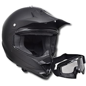 vidaXL Casco Negro de Motocross Sin Visera Tamaño L Con Gafas