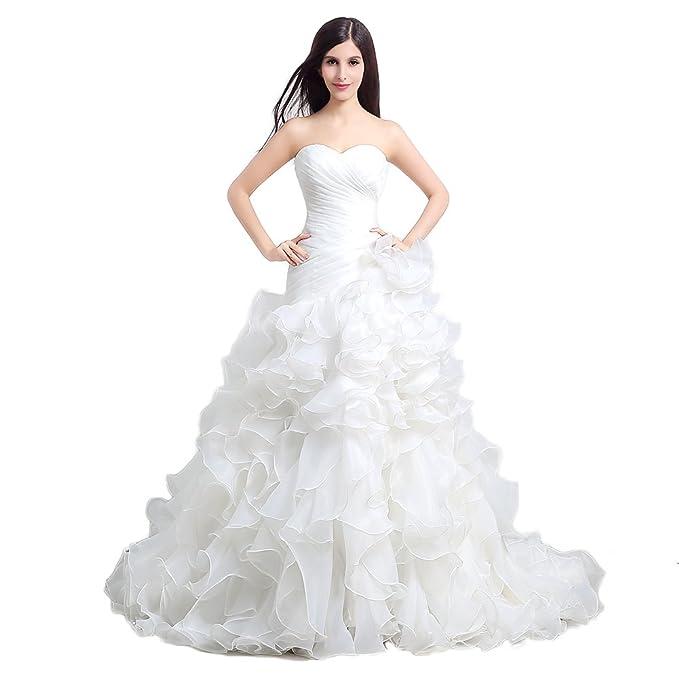 Engerla mujer de novia vestido de novia de organza de novia (sin espalda Capa Fruncidos: Amazon.es: Ropa y accesorios