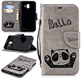 Misteem Cartoon Case Samsung Galaxy J6 2018, Cute Retro Panda Pattern Leather Cases Flip Shockproof Card Holder Bookstyle/Stand / Magnetic Wallet Cover Protector Samsung Galaxy J6 2018 - Panda Grey