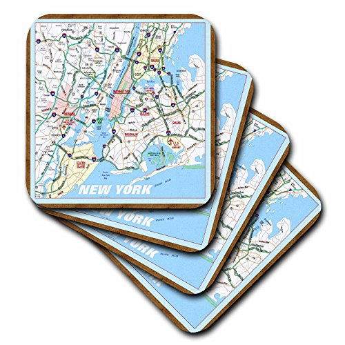 (3dRose cst_39024_3 Framed NYC Boroughs Ceramic Tile Coasters, Set of 4)
