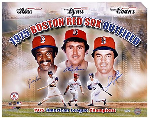 Jim Rice,Fred Lynn,Dwight Evans 1975 Boston Red Sox Autographed 16