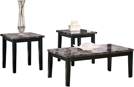 Amazon Com Signature Design By Ashley Maysville Faux Marble Coffee Table Set Includes Table 2 End Tables Black Furniture Decor