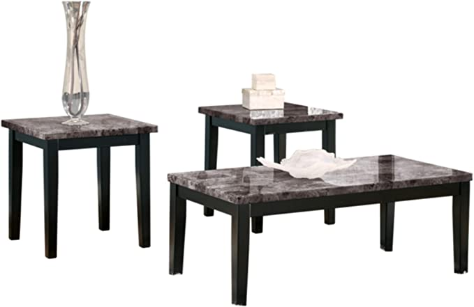 Signature Design By Ashley Maysville Faux Marble Coffee Table Set Includes Table 2 End Tables Black Furniture Decor Amazon Com