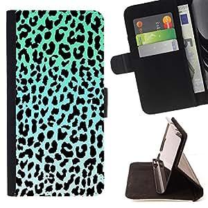 BullDog Case - FOR/LG G3 / - / leopard pattern blue black white green /- Monedero de cuero de la PU Llevar cubierta de la caja con el ID Credit Card Slots Flip funda de cuer
