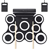 PAXCESS 9 Pads Electronic Drum Set, Electric Drum Set with Headphone Jack, Built in Speaker and Battery, Drum Stick, Foot Ped