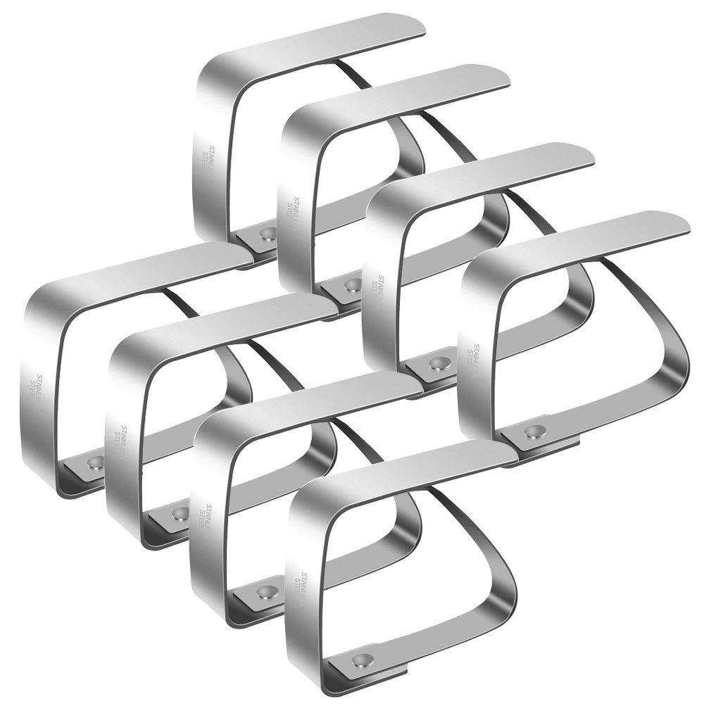 Nahuaa 8 Pezzi Ferma Tovaglia Clip in Acciaio Inox 5CM Fermatovaglia Tavolo Regolabile Gadget Molla per Fermare Tovaglie Tavolo Esterno Picnic Terrazzo Giardino Campeggio Argento