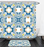 Nalahome Bath Suit: Showercurtain Bathrug Bathtowel Handtowel Traditional House Decor Tunisian Mosaic with Azulojo Spanish Influence Authentic Retro Islamic Blue