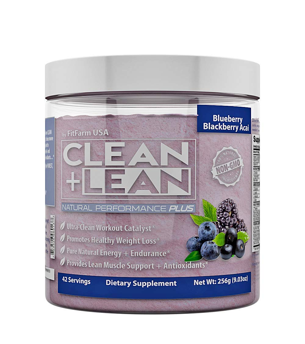 Clean+Lean Natural Performance''Plus'' by FitFarm USA: Ultra-Clean Workout Catalyst + Healthy Weight Loss Blend, Lean Muscle BCAA's, and Antioxidants- 100% Non-GMO 42 Svgs (Blueberry BlackBerry Acai)
