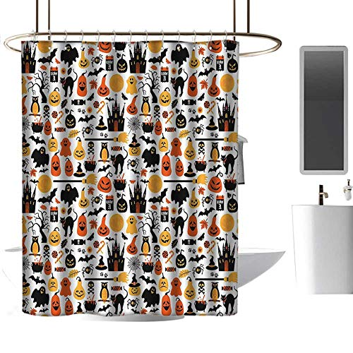 coolteey Shower Curtains for Bathroom Orange Halloween,Halloween Icons Collection Candies Owls Castles Ghosts October 31 Theme,Orange Yellow Black,W72 x L84,Shower Curtain for Men -