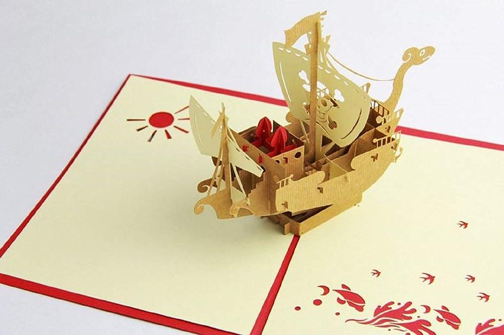 BC Worldwide Ltd Tarjeta pop-up 3D hecha a mano, barco ...