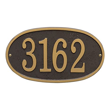 34adc04f642f Amazon.com : Whitehall Personalized Cast Metal Address Plaque - Custom House  Number Sign - Oval (12