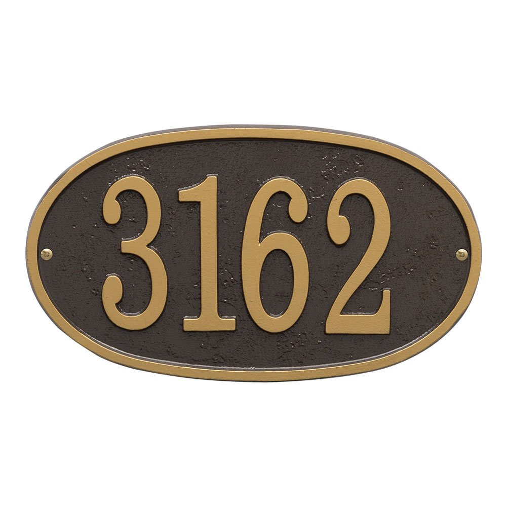 Whitehall Personalized Cast Metal Address Plaque - Custom House Number Sign - Oval (12'' x 6.75'') - Bronze with Silver Numbers