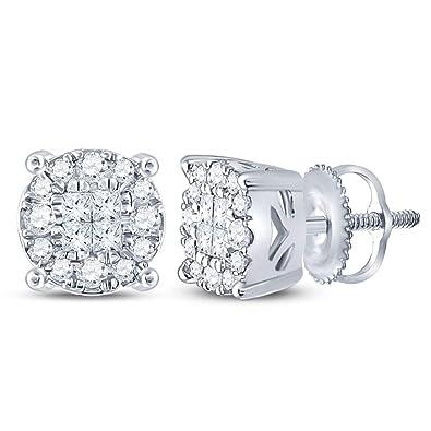 3f68dd78aabdf Amazon.com: 14k White Gold Princess and Round Cut Invisible Channel ...