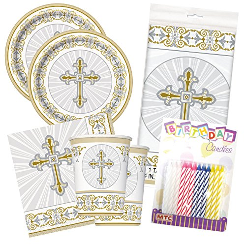 Radiant Cross Religious Celebration Party Tableware Plate and Napkin Set (Gold, Deluxe Party) ()