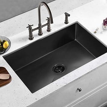 alwen 33 x 21 x 10 undermount kitchen sink 16 gauge stainless steel single bowl kitchen sink gunmetal black nano surface modern luxury sink