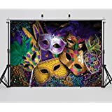 SJOLOON 7X5ft Mardi Gras Mask Colorful Poster Photography Backdrop Masquerade Backgrounds Studio Props 11079