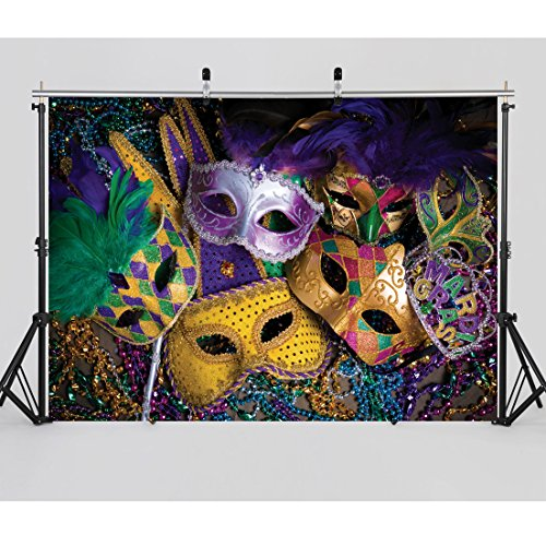 SJOLOON 7X5ft Mardi Gras Mask Colorful Poster Photography