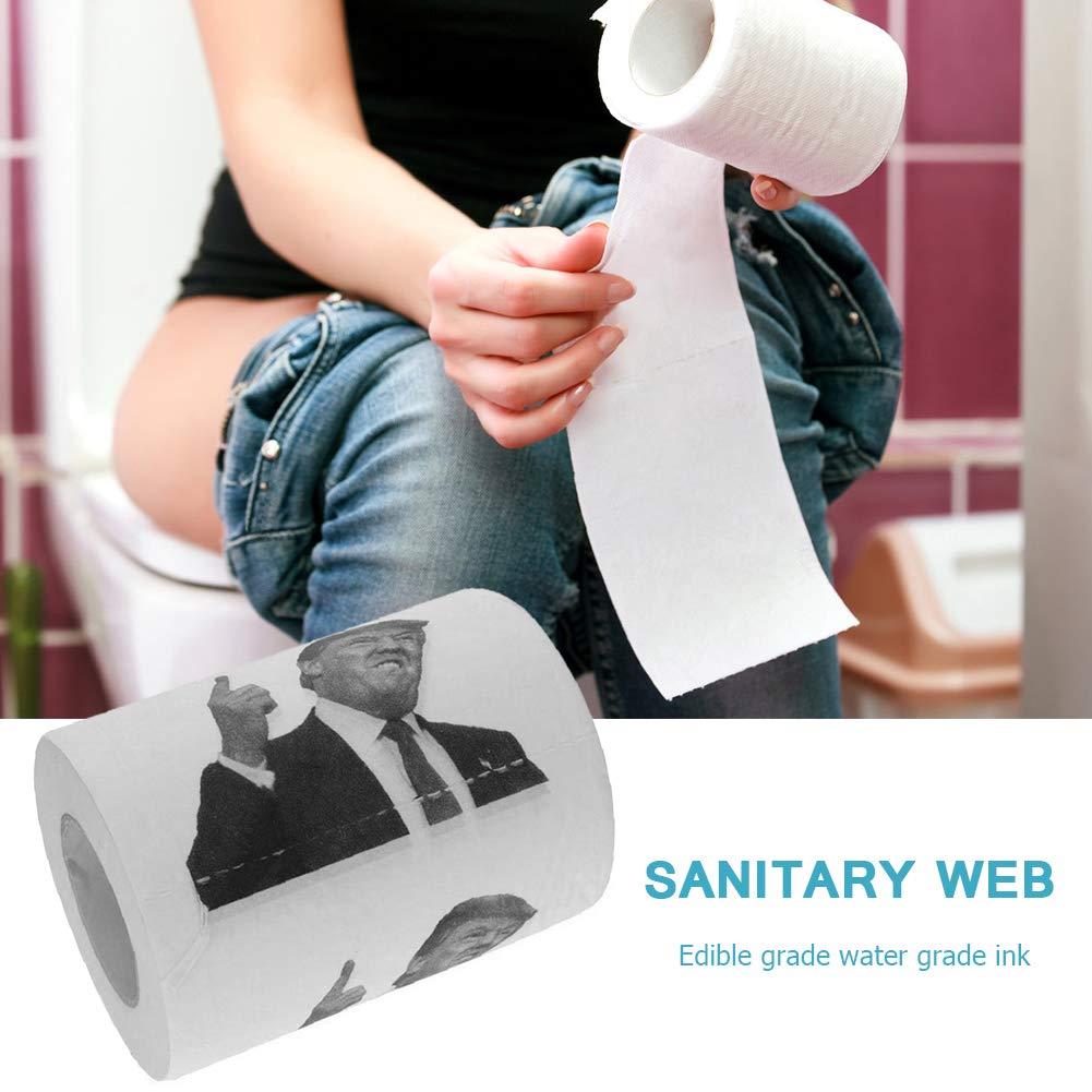 Neuheit Donald Trump Kiss Bedrucktes Toilettenpapier Toilettenb/ürste mit Sockel