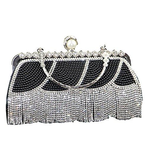 Evening Crystal Rhinestone Tassel with Women's Party Handbags Bag Bags Prom Handbags Wedding Pearl Sparkly 1 Diamante Evening Clutch TOYIS 5nx0qpC7wx