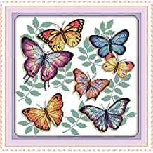 YEESAM ART New Cross Stitch Kits Advanced Patterns for Beginners Kids Adults - Colorful Butterflies 11 CT Stamped 43×42 cm - DIY Needlework Wedding Christmas Gifts