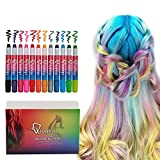 Qivange Hair Chalk Pens, Girl Toys Washable Temporary Hair Colouring for Kids, Perfect Birthday Halloween Christmas New Year Gift for Boys & Girls, Set of 12