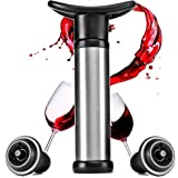 Vacuum Wine Saver with 2 Vacuum Bottle Stoppers,Black– Stainless Steel,Food Grade Material,Keep Wine Fresh and Flavorful for 14 Days