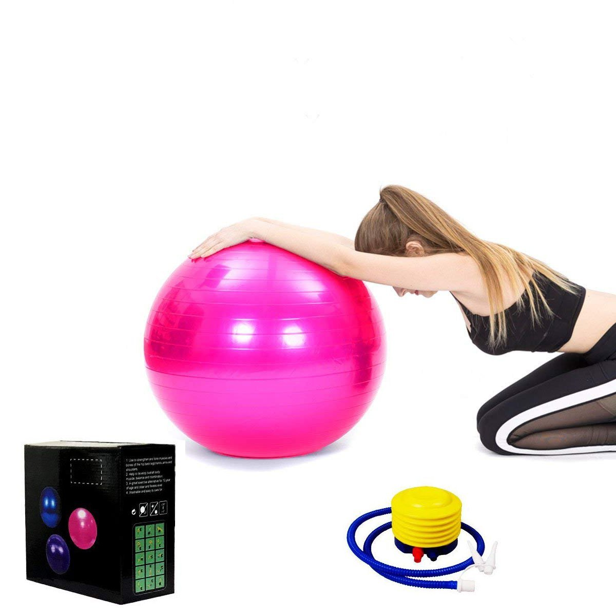 Exercise Ball for Fitness,Balance Ball for Yoga,Stability,Professional Grade Exercise Equipment-Supports 2200lbs-65cm Balance Balls
