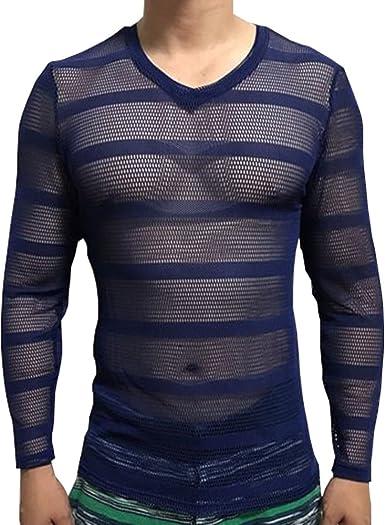 summer Mens V Neck Striped Mesh T Shirt Breathable Long Sleeve See-through Tops