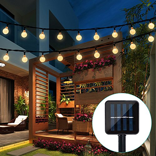 Outdoor Bistro Solar Powered Globe String Lights: AMIR Solar Powered String Lights, 100 LED Copper Wire