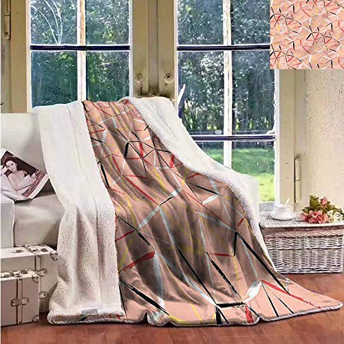 Sunnyhome Sherpa Fleece Blanket Coral Abstract Triangles Grungy Personalized Baby Blanket W59x47L