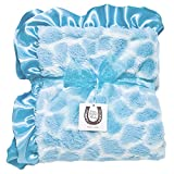 Max Daniel Child Blue Giraffe Blanket - Double Sided-Satin Ruffle