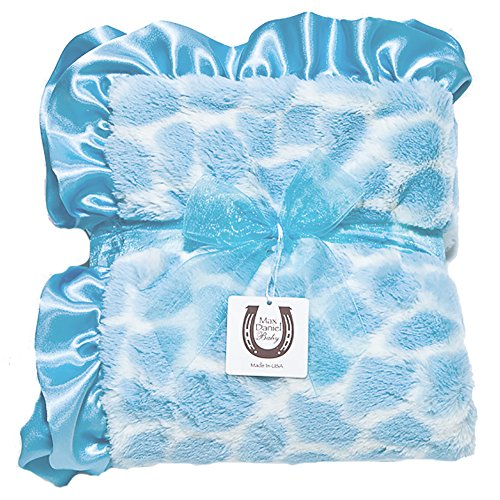 Max Daniel Child Blue Giraffe Blanket - Double Sided-Satin Ruffle by Max Daniel Designs