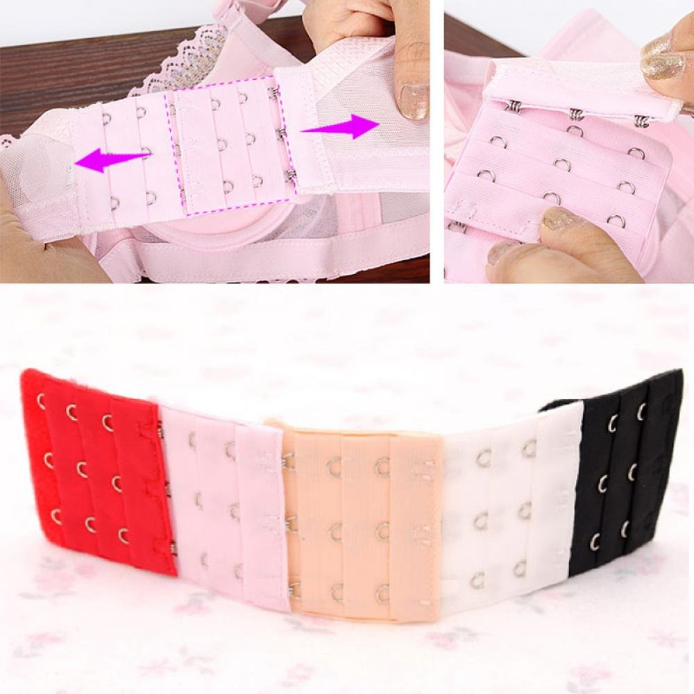 ICYANG 20 Pieces 3 Rows 3 Hooks Bra Extenders Bra Band Strap Extention Soft Comfortable Size Length Adjustment Random Colour Black Pink Beige White 2.0 x 2.2inch