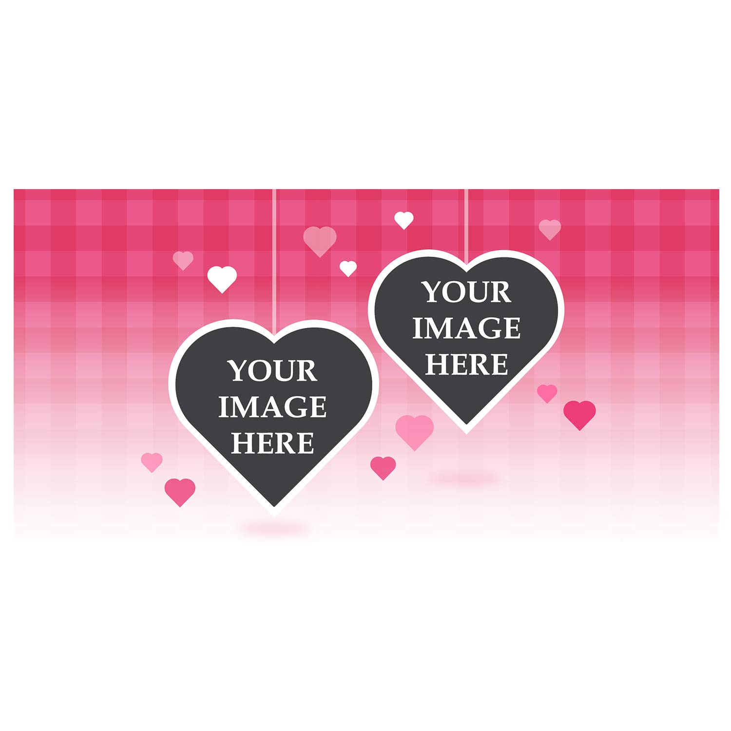 BANNER BUZZ MAKE IT VISIBLE Custom Magnetic Picture Hanging Pink Hearts Pocket Frame, Self-Adhesive Pocket Photo Magnets for Refrigerator, Valentine Day Gifts & More (12'' X 24'')
