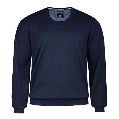 3ca0768fe88a hajo Übergrößen V-Neck Pullover Pima Cotton Marine, deutsche Größe 56