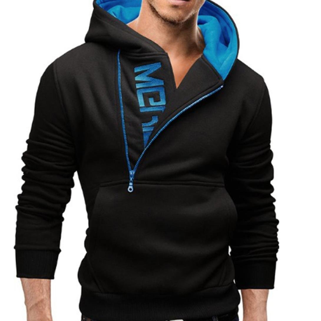 Gocheaper Men's Long Sleeve Diagonal Zip-Type Hood Hoodie Hooded Sweatshirt Tops Jacket Coat Outwear (XL, Blue) by Gocheaper