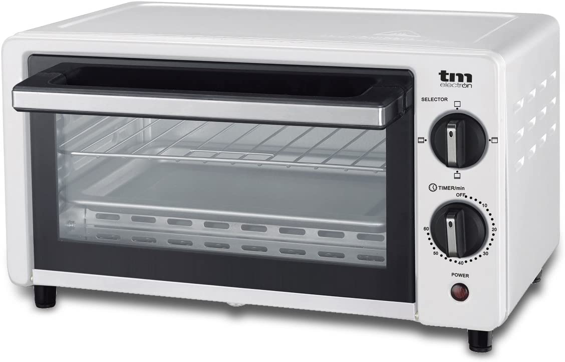 TM Electron TMPHO001WH mini horno tostador 800W, 10L de capacidad, 3 modos de calentamiento, blanco