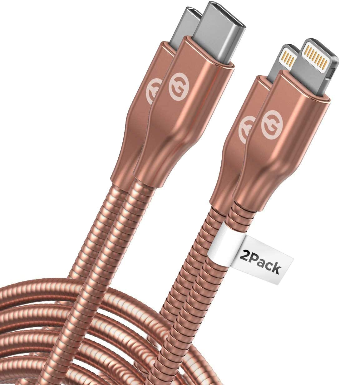 Galvanox (2 Pack) Apple MFi Certified Lightning to USB-C Charger Cables (Ultra-Durable) Braided Metal Cords Compatible with iPhone 12 Pro Max/11/SE/Xs/XR (Rose Gold)