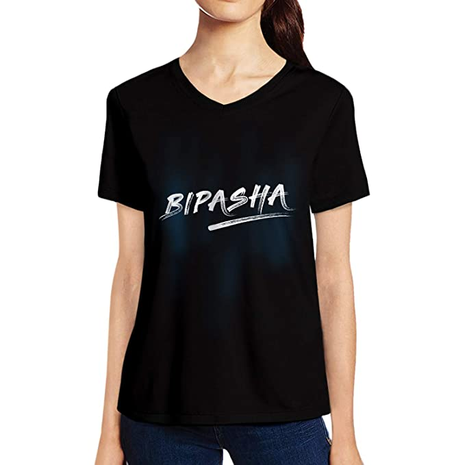 bba64a5a4458 Pooplu Womens Bipasha Cotton Printed V Neck Half Sleeves Black   White t  Shirt. Common Names