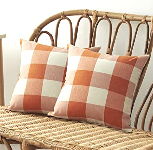 Set of 2 Buffalo Check Plaid Throw Pillow Covers 18x18 Inches Cotton Linen Farmhouse Decorative Square Pillow Covers for Home Decor, Sofa, Bedroom, Car (Orange, 18 X 18 Inches)
