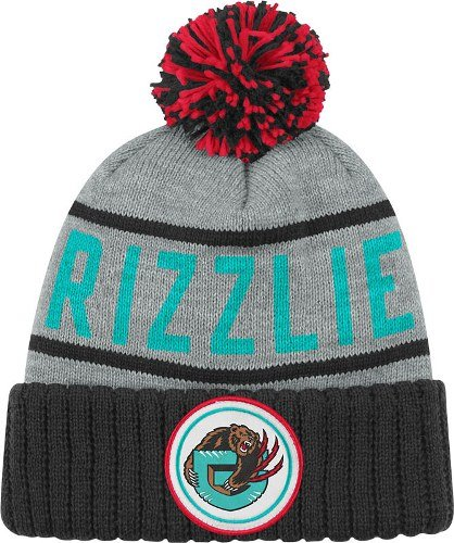 Vancouver Grizzlies Mitchell & Ness NBA ''The High 5'' Vintage Cuffed Premium Knit Hat w/ Pom by Mitchell & Ness