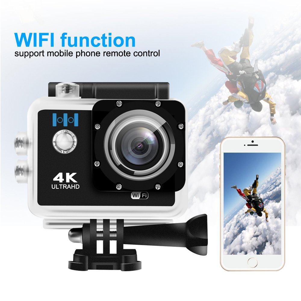 Amazon.com : Action Camera, HEIHEI 1080P 4K Ultra HD 2.0 Inch 170 Degree  Ultra-Wide Angle Lens Waterproof Wireless Sports Camera Diving Cam DV  Camcorder Kit ...
